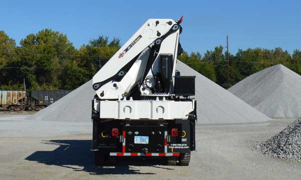Flatbed with Freightliner Chassis and articulating crane