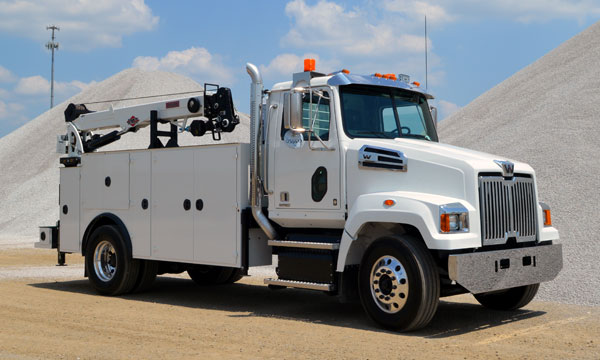western star service truck with crane and compressor
