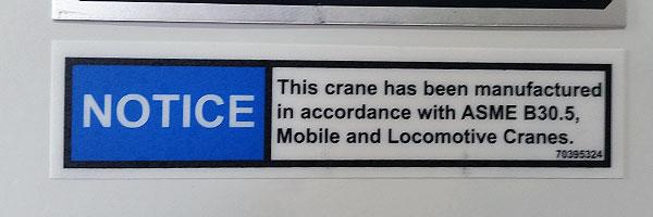ANSI Crane Sticker