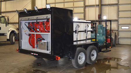 open style lube trailer, tandem axle black work lights poly tanks pumps air compressor enclosed reel compartment