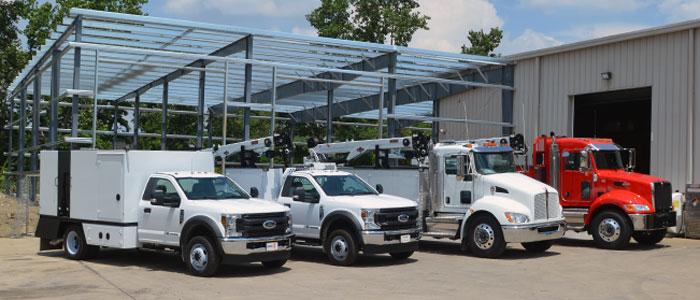Service Trucks, Ford F550, Peterbilt 337 IMT Cranes, Boss Compressors